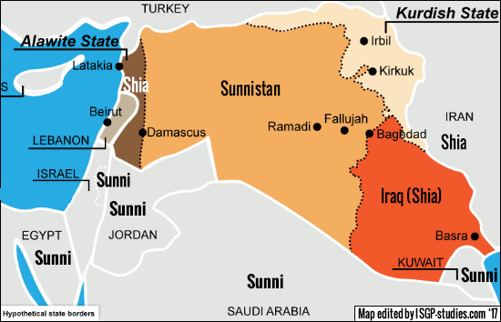 Partitioning of Syria and Iraq: Sunnistan, Kurdistan, Shia Iraq and Alawite Syria.
