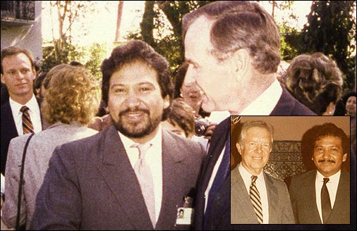 DEA agent Celerino Castillo with presidents Jimmy Carter and George Bush. Castillo tried to stop Contra cocaine trafficking; Bush had no interest in it.