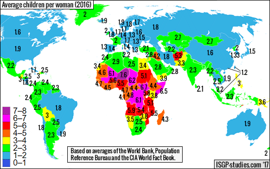 Children per woman globally.