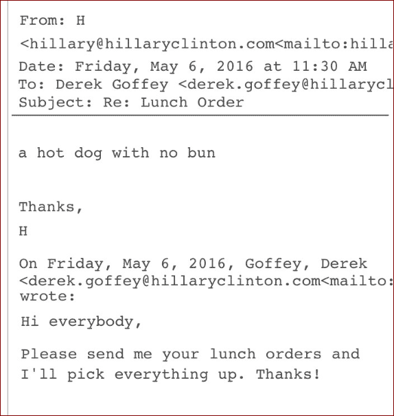 A Hot Dog Without Bun Hillary