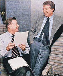 Trilateral Commission founder and National security advisor Zbigniew Brzezinski with Jimmy Carter.